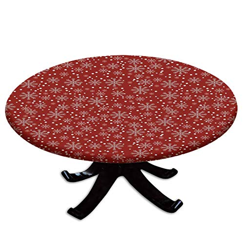 Elastic Edged Polyester Fitted Table Cover,Festive Winter Season Holiday Themed Vibrant Background Snowflakes with Polka Dot Decorative,Fits up 45'-56' Diameter Tables,The Ultimate Protection for Your