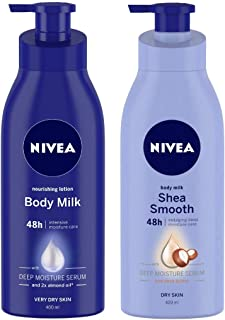 Nivea 400ml Nourishing Lotion Body Milk with Deep Moisture Serum And 2x Almond Oil for Very Dry Skin, And Shea Smooth Milk...