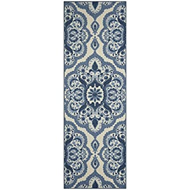 Maples Rugs Runner Rug, [Made in USA][Vivian] 2' x 6' Non Slip Hallway Entry Area Rug for Living Room, Bedroom, and Kitchen - Blue