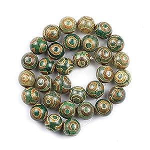 Naturkristall rau Natürliche grüne Agate China Tibetaner Buddhismus Dzi Augenperlen 8/10 / 12mm Runde Spacer Lose Perlen für Schmuckherstellung DIY Accessoriy ( Item Diameter : 10MM 35PCS 1Strand )