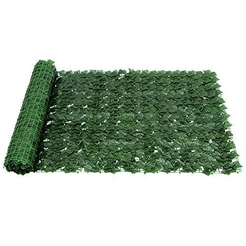Deepboom Künstliche Efeu Garten Sichtschutz, Künstliche Hecke Efeublatt Gartenzaunrolle Grüner Wandbalkon Sichtschutz für Outdoor-Dekor, Garten (100 x 300 cm)