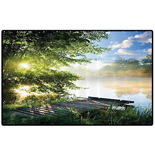 House Decor Decor Mat Rugs Fishing Pier by River in The Morning Light with Clouds and Trees Nature Image Decor Area Rug for Home Decor Bedroom Garden