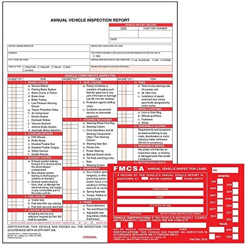 Annual Vehicle Inspection Report Form 25 pk Snap Out Format 3 Ply Carbonless 8 5 x 11 75 Label product image