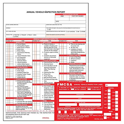 """Annual Vehicle Inspection Report Form 25-pk. (Snap-Out Format, 3-Ply Carbonless, 8.5"""" x 11.75"""") + Label with Punch Boxes 25-pk. (Aluminum, Permanent Adhesive, 6"""" x 3.5"""") - J. J. Keller & Associates"""