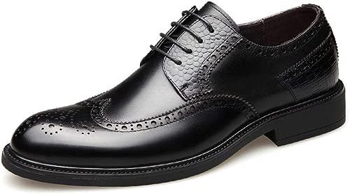 YUNLI Business Herren Anzugschuhe, Lederschuhe Schnürhalbschuhe Oxford Schuhe Smoking Lackleder Hochzeit Derby Leder Brogue Schwarz Braun 37-47 (Farbe   Schwarz, Größe   40 EU)