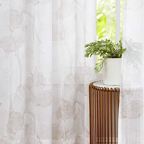 Treatmentex Sheer Curtains for Living Room 84inches Long Beige and White Chiffon Curtains Lotus Leaf Print Window Panels for Bedroom Semi Sheer Drapes Taupe Rod Pocket 2 Pack