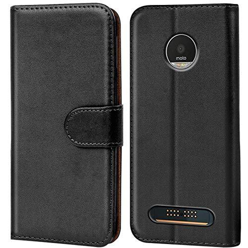 Conie Handyhülle für Motorola Moto Z3 Play Hülle, Premium PU Leder Flip Hülle Booklet Cover Weiches Innenfutter für Moto Z3 Play Tasche, Schwarz