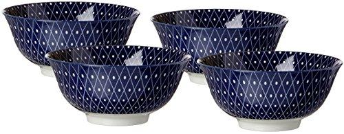 Ritzenhoff & Breker Schalen-Set Royal Reiko, 4-teilig, 15,5 cm Durchmesser, 650 ml, Porzellangeschirr, Blau-Weiß