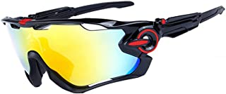Fankeshi Polarized Sports Riding Mirror Running Sunglasses with 3 Interchangeable Lenses