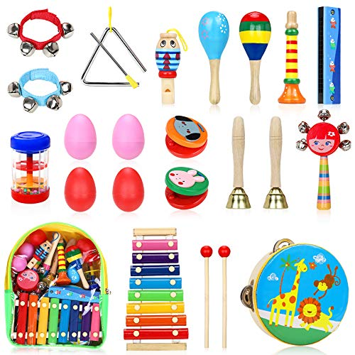 Jojoin Instruments de Musique pour Enfants, 24PCS Set en Bois Percussion pour Bébé avec Xylophone, Tambourin, Triangle et Autre Instrument Jouets avec Sac de Transport
