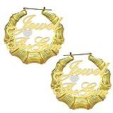 Pendientes De Aro De Bambú Personalizados Con Corazón Chapado En Oro De 18 Quilates 2 Nombres Pendientes De Bambú Con Corazón 2 Forne Regalo De Cumpleaños De Navidad Para Mujer(Estilo 1 Oro 2.36 IN)