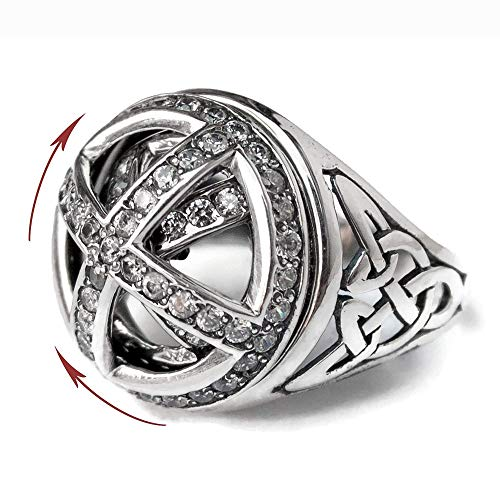 Celtic Knot Signet Ring with Spinner 925 Sterling Silver Rotating Trinity Celtic Knot and Cross Ring with Zircon Medieval Crusader Vintage Style Statement Rings Handmade Jewelry