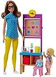 Barbie Métiers Coffret poupée Maîtresse d'école aux cheveux châtains avec figurine élève blonde, tableau et accessoires, jouet pour enfant, FJB30