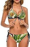 Conjunto de Bikini Halter Ajustable de Dos Piezas para Mujer y niña, Traje de baño, Traje de baño Hawaiano, Corgis de Verano, Palma de piña, 2XL
