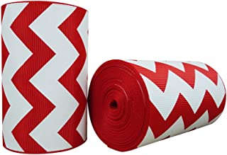 3 Inch Chevron Printed 5 Yards Red Grosgrain Ribbons