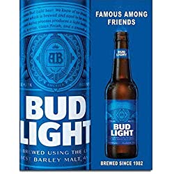 Desperate Enterprises Bud Light Famous Among Friends Beer Tin Sign 12 X 16