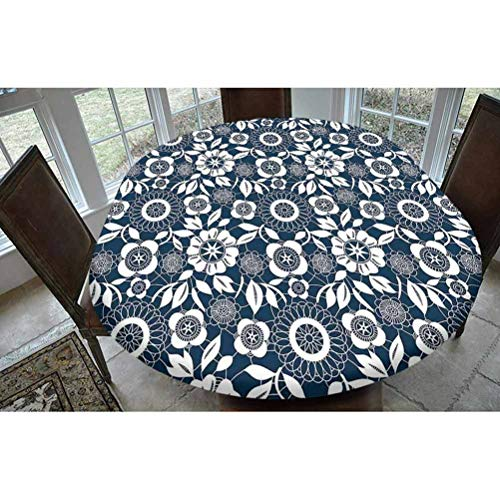 Navy Blue Decor Polyester Fitted Tablecloth,Ornamental Lace Crochet Flowers with Round Patters Bohemian Victorian Style Decor Oblong Elastic Edge Fitted Table Cover,Fits Oval Tables 68x48' Dark Blue W