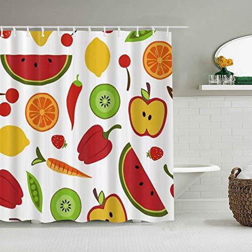 QINCO Duschvorhang,Obst & Gemüse Muster Chili Pfeffer Wassermelone Kiwi Karotte Apfel Erdbeer Orange Kirsche Zitronenbohne,personalisierte Deko Badezimmer Vorhang,mit Haken,180 * 210