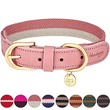 Blueberry Pet 8 Colors Polyester Fabric and Soft Genuine Leather Webbing Dog Collar in Pink and Grey, Large, Neck 18 -22 , Adjustable Collars for Dogs