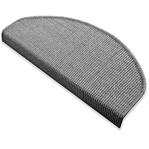 Floordirekt 15 x Teppich Stufenmatten Treppenstufen | 100{c0e5565567d95b82c1392505fe249c6f37d3ce34a67077414468d2d5add25f65} Sisal | wohnlichen Farben | rutschsicher für Mensch und Tier (Maße ca. 64 x 23,5 cm) (Grau)