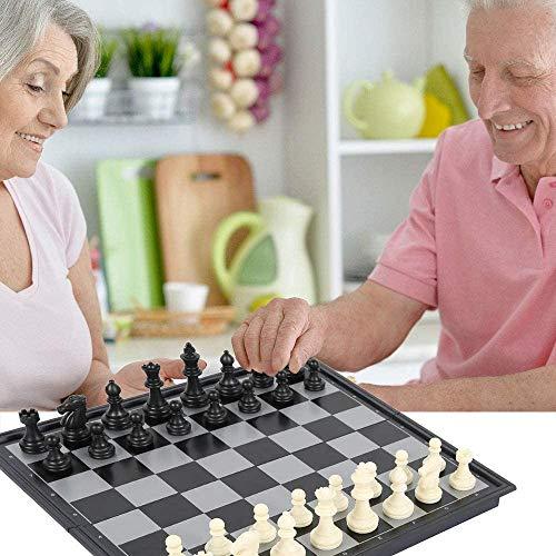 Scacchiera pieghevole in 4 stili in legno, 3 in 1, gioco tradizionale con scacchi e scacchi, con Lady Board Backgammon, gioco da tavolo per adulti e bambini, di lusso, regalo (nero 25 x 25 cm)