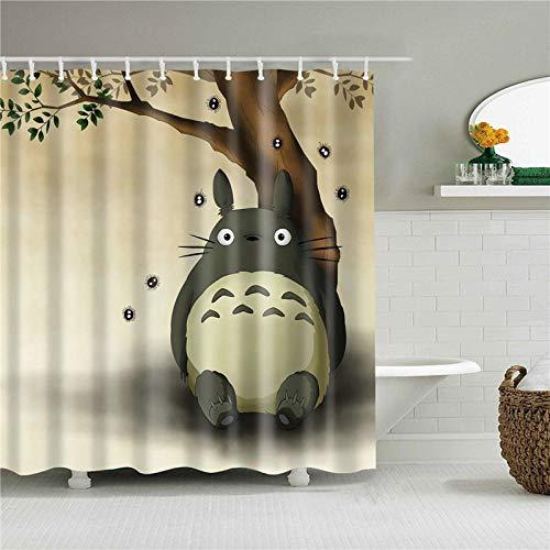 None brand Anime Totoro My Neighbor Cat Duschvorhänge Wasserdichtes Badezimmer Dekor mit Haken 3D Girls Boys Geschenke-180 cm x 240 cm