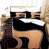 Antialérgico Bedding - Juego Sábanas de Cama Estampadas - Microfibra Cepillada Guitarra musicalFundas para Edredón Poliéster con Cierre de Cremallera140*200 cm