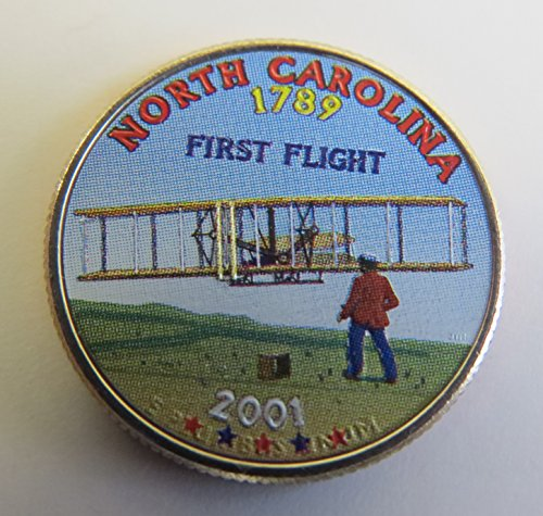 2001 Various Mint Marks North Carolina State Colorized Quarter Choice Uncirculated