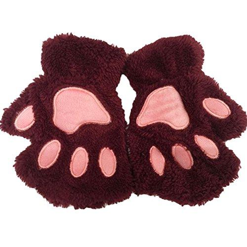 Fablcrew Femme Gants d'hiver en Peluche Lovely Cat Griffe Demi Doigt Gants Moufles pour écrire Une Saisie, Rouge foncé, Small