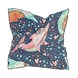 Alarge - Bufanda cuadrada de seda para acuarela, diseño de delfines marinos, ligera, suave, pañuelos, bufandas envolventes para mujeres y niñas