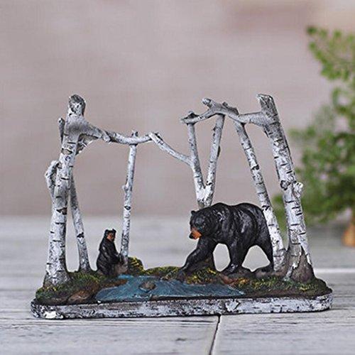 Créative Rétro Résine Sculpture Bouleau Grand Noir Ours Décorations pour La Maison Chambre d'Enfants Salon TV Cabinet Bureau Artisanat Décoration Rollsnownow (taille : 19 * 3.5 * 14cm)