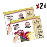 Quijote Paper World Pack 2 Blocs de Papel de Seda, 20 Hojas, A4, 21x29,7cm para Manualidades, Dibujo, Diseños, etc. 10 colores