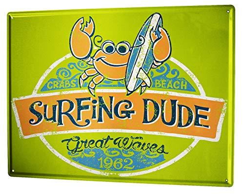 LEotiE SINCE 2004 Plaque en Métal Métallique Poster Mural tin Sign 40x30 cm Retro Déco Surfer Dude