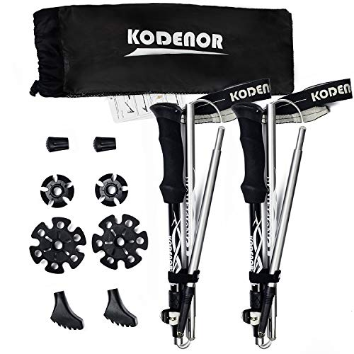 ODS Trekking Poles for Hiking Collapsible 2-pc Pack Walking Sticks Adjustable Anti Shock Strong & Lightweight Aluminum 7075 Hiking Poles for Camping, Backpacking, Trekking