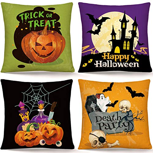 Whaline Halloween Pillow Cover Pumpkin Bat Castle Ghost Skull Pillow Case Trick or Treat Throw Cushion Cover Linen Cushion Cases for Home Office Halloween Sofa Bed Decoration, 18' x 18'(4Pcs)