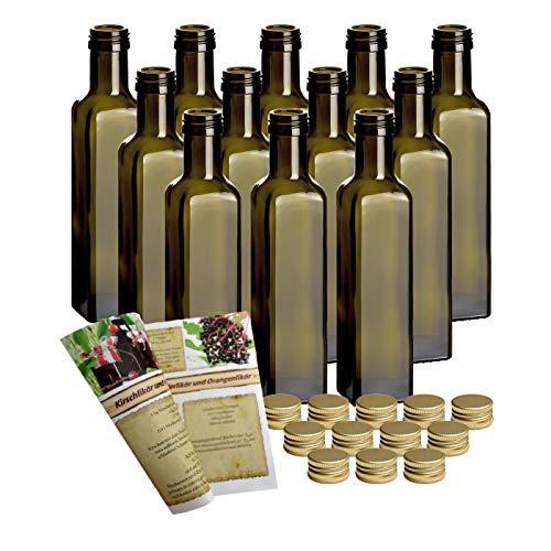 gouveo 24er Set Leere 250 ml Maraska -Antik- Flaschen inkl. Schraubverschluss PP 31,5 Gold und 28-seitige Flaschendiscount-Rezeptbroschüre Likörflaschen Schnapsflaschen Essigflaschen Ölflaschen