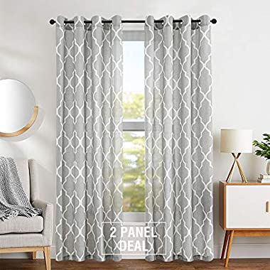 Moroccan Tile Printed Linen Curtains 95 inch Long for Bedroom Curtain Living Room Window Drapes - Lattice Grommet Top - Set of Two, Quatrefoil Grey Curtain Panels