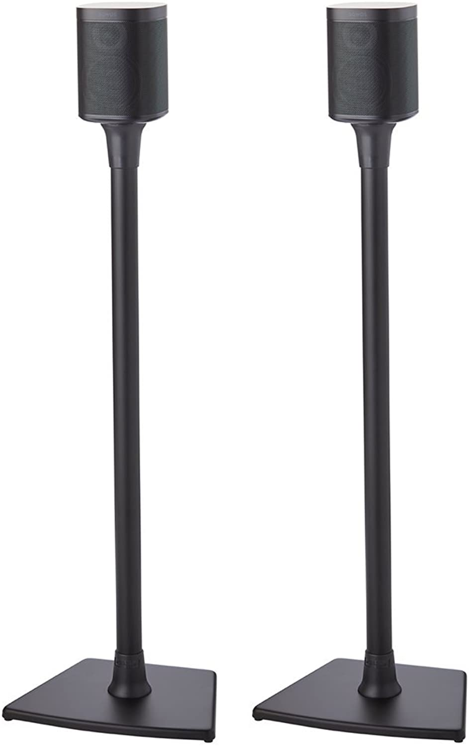 Sanus Wireless Sonos Speaker Stand for Sonos One, Play 1, Play 3 - Audio-Enhancing Design with Built-in Cable Management - Pair (Black) - WSS22-B1