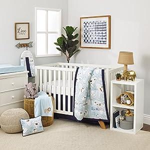 NoJo Dreamer Little Explorer World Map 8 Piece Nursery Crib Bedding Set, Navy Blue/Light Blue/White