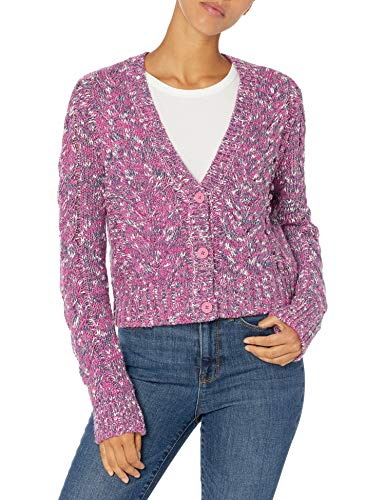 Amazon Brand - Goodthreads Women's Marled Long Sleeve Fisherman Cable Cardigan Sweater, Purple Orchid Marl, Small
