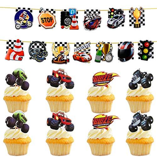 25 x Blaze y Máquinas Cupcake Toppers ZSWQ-Decoración de la Fiesta de cumpleaños para Colgar en el Tema para niños
