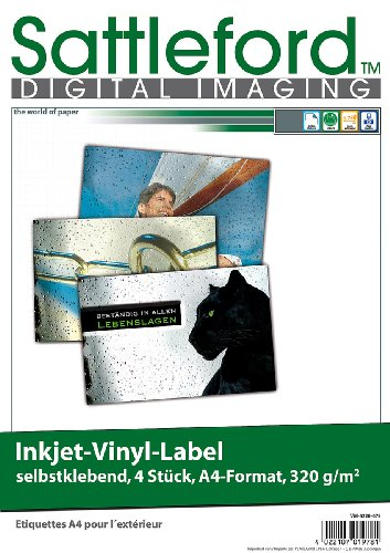 Sattleford Bedruckbare Vinylfolie: 4 Vinyl-Klebefolien für Inkjet-Drucker, wetterfest, DIN A4, weiß (Bedruckbare Klebefolie weiß Inkjet)