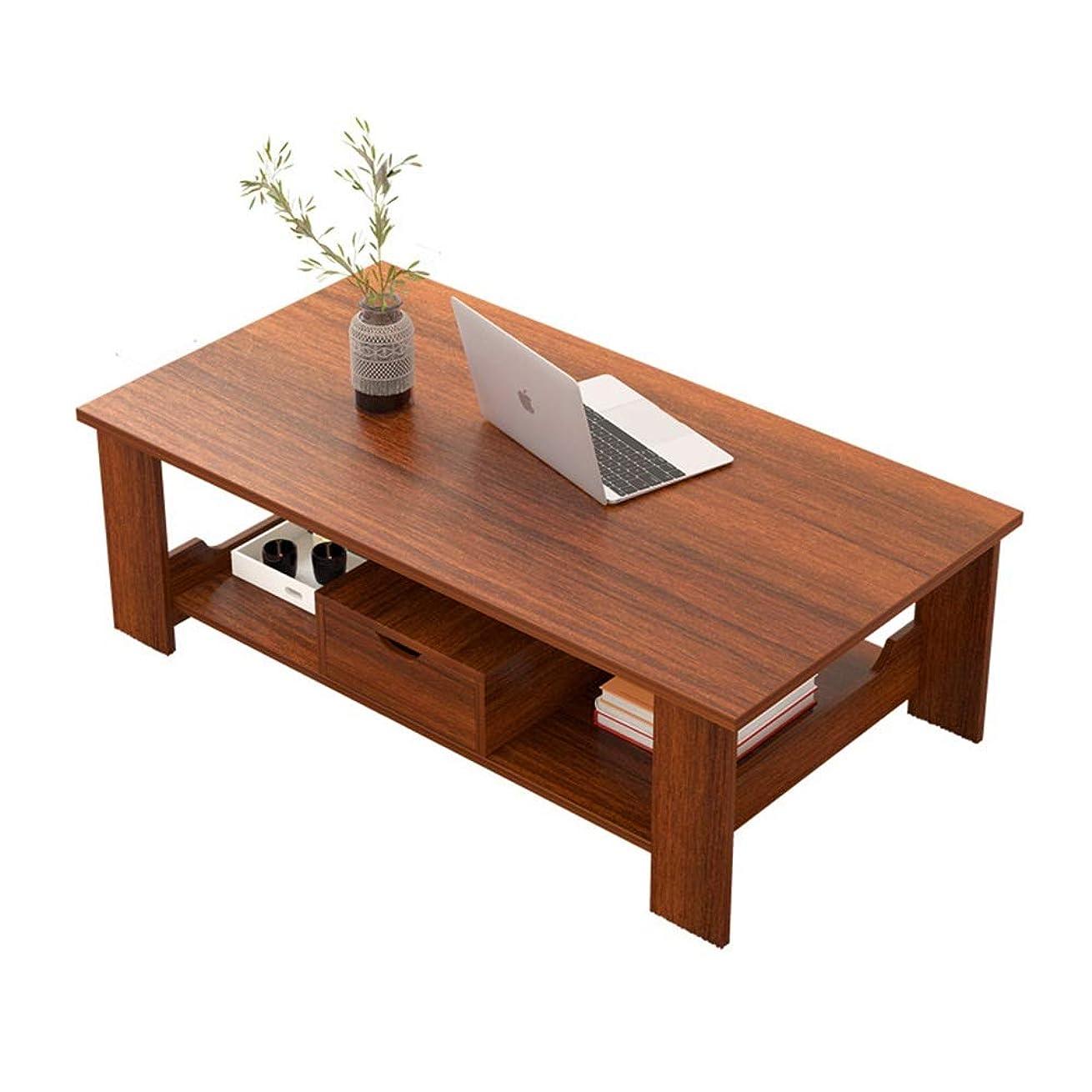 北方怠感標準安定したコーヒーテーブル ストレージシェルフカクテルテレビ表ソファ表簡単な組み立てウッドルック家具付きコーヒーテーブル 暖かい感じ (色 : 褐色, Size : 100x50x41.5cm)