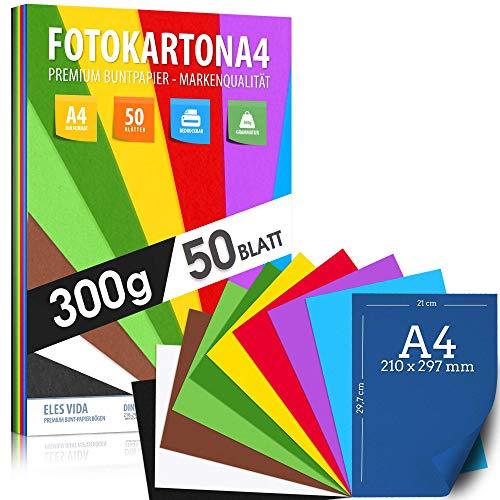 50 Blatt Fotokarton DIN A4-300g/m² stark - 10 Farben – Karton Pappe, farbige Blätter für Schule, Hobby - Kinder & DIY Bogen, Bastel Zubehör für Fotoalben, Geschenke, Kreativität - AUS DEUTSCHLAND