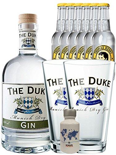 Gin-Set The Duke München Dry BIO Gin 0,7 Liter + Nordes Atlantic Gin 0,05 Liter Miniatur + 6 Thomas Henry Tonic Water 0,2 Liter + 2 x The Duke Long Drink Glas 0,3 Liter