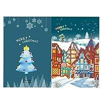 グリーティングカードメリークリスマスカードDIY絵画手作りカード、ラウンドドリルグリーティングカードさまざまなホリデーパーティー活動に適しています (Size:260 X 180mm; Color:#5)