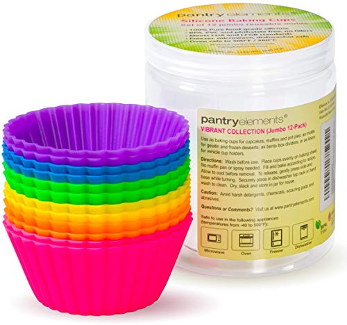 Pantry Elements Jumbo Silicone Muffin Cups - 12 Large 3-5/8 inch Baking Liners with Bonus Screw Top Storage Jar