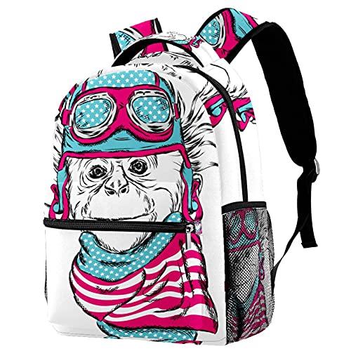Lleve la mochila con estilo mono con casco