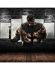 ZHANGGONG Dukbild för heminredning 5 stycken moderna Giclée-inramade konstverk för vardagsrum dekoration fototryck på duk medeltida riddarrustning krigare ram