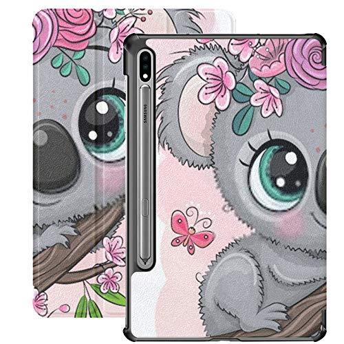 Funda Inteligente para Samsung Galaxy Tab S7 Plus 2020 Release 12.4 Pulgadas SM-T970 / T975 / T976 con portalápices, Lindas Flores de Koala de Dibujos Animados en el árbol